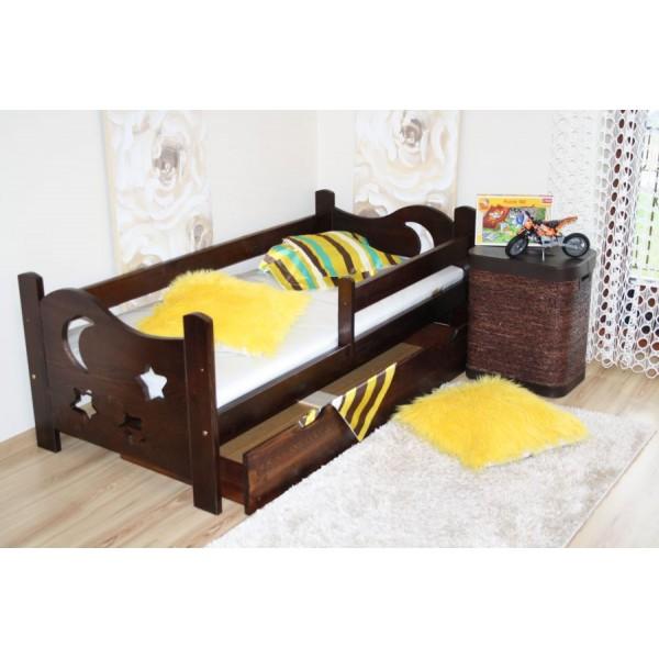 Child Bed Dark Walnut Pine Wood 79x165cm + Mattress