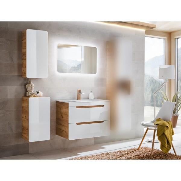 Bathroom Furniture Aruba White Set White Gloss / Oak 600mm