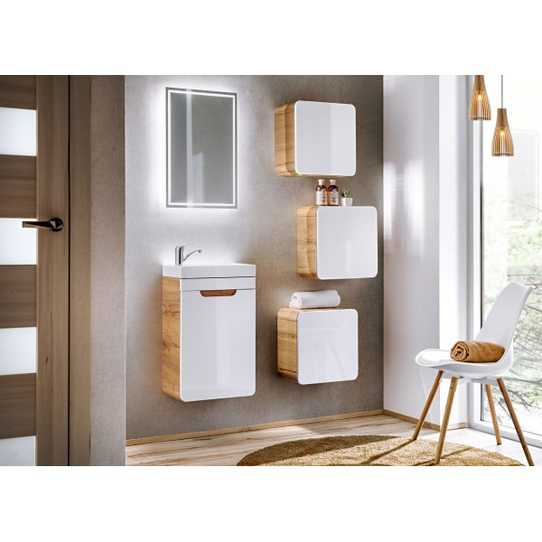 Bathroom Furniture Aruba White Set White Gloss / Oak 400mm