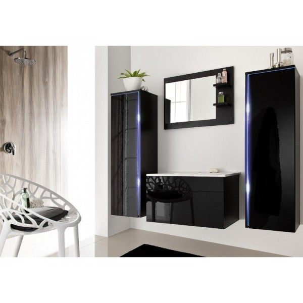 BATHROOM FURNITURE SHINE BATHROOM SET BLACK GLOSS