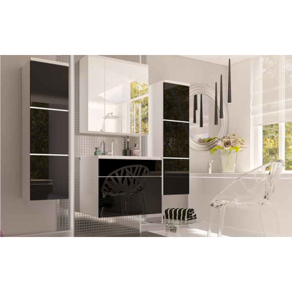 BATHROOM FURNITURE ROKO BATHROOM SET WHITE MATTE/BLACK GLOSS