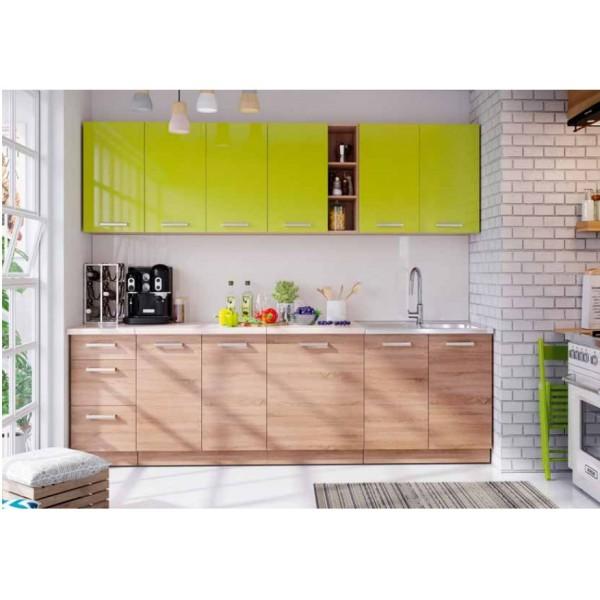 Kitchen Furniture F18 Kitchen Set Light Oak Matt / Green gloss