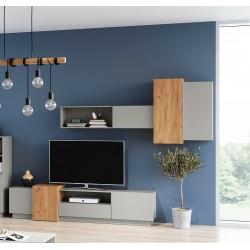Living Room Furniture 3D Wall Unit Set Oak/Grey