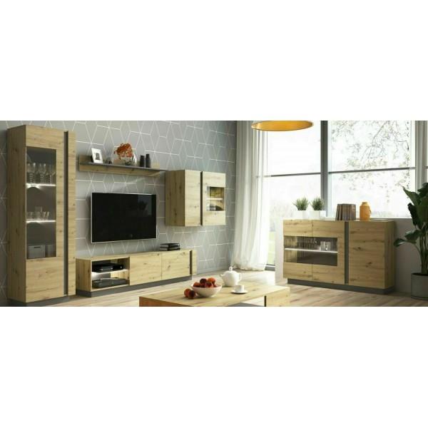 Living Room Furniture Arco Wall Unit Set Oak/Grey