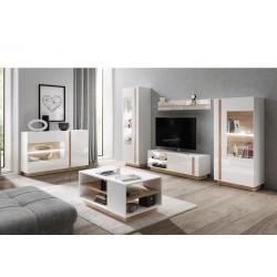 Living Room Furniture Arco Wall Unit Set White Gloss/Oak