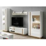 Living Room Furniture Arco Wall Unit Set 2 White Gloss/Oak