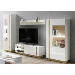 Living Room Furniture Arco Wall Unit Set 2 White Gloss/Oak