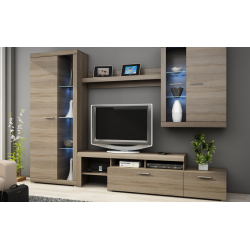Living Room Furniture Alvaro Wall Unit Set Truffle Oak