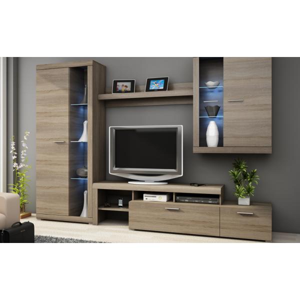 Living Room Furniture Alvaro Wall Unit Set Truffle Oak