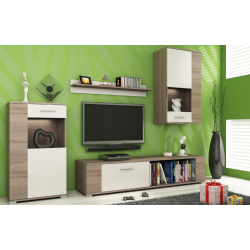 Living Room Furniture Foxy Wall Unit Set Truffle Oak / White