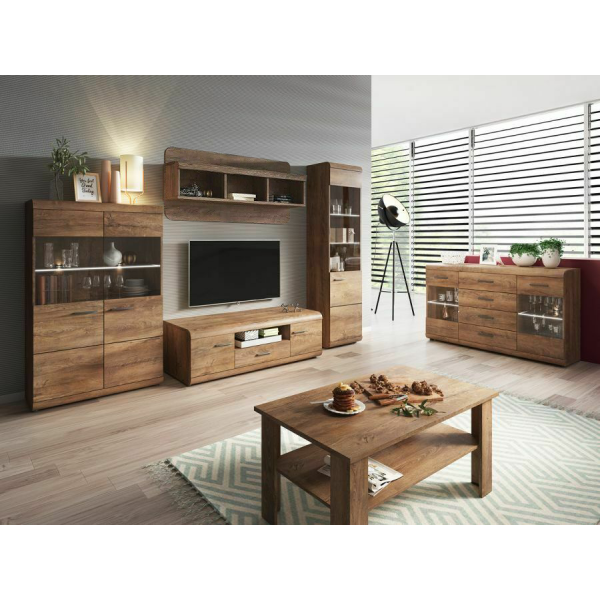 Living Room Furniture Lena Wall Unit Full Set Oak
