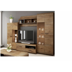 Living Room Furniture Lena 2 Wall Unit Set Oak