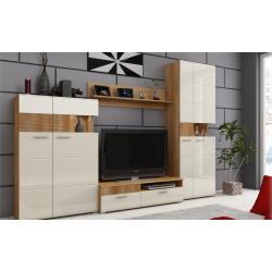 Living Room Furniture Luigi Wall Unit Set Country Honey Oak / Jasmine MDF