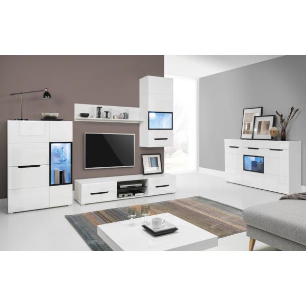 Living Room Furniture Pedro Wall Unit Set White / White MDF Gloss