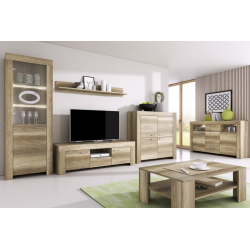 Living Room Furniture Sky Wall Unit Set Country Grey Oak