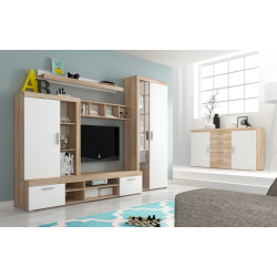 Living Room Furniture Tom Wall Unit Set Oak/White