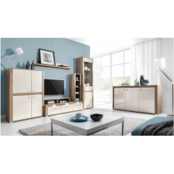 Living Room Furniture Campari Wall Unit Set Country Grey/ Jasmine Gloss