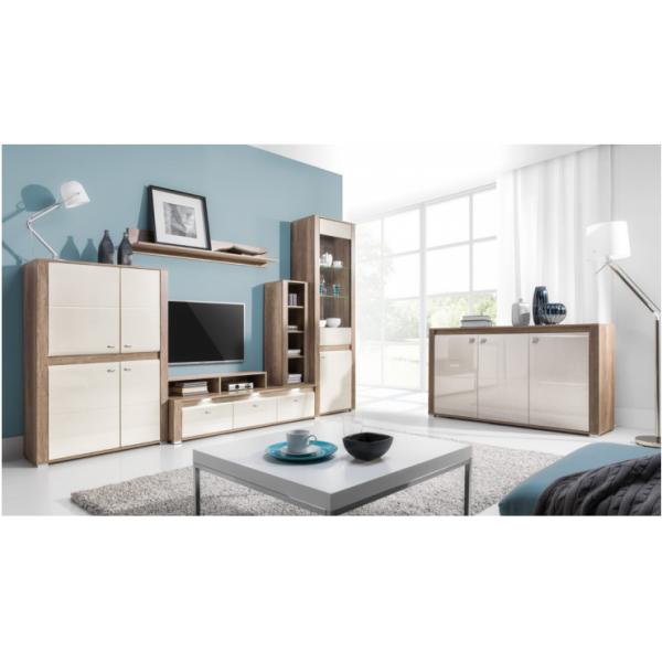 Living Room Furniture Campari Wall Unit Set Country Grey/ Jasmine Gloss