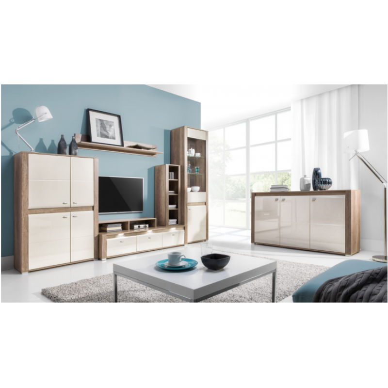 Living Room Furniture Campari Wall Unit Set Country Grey Jasmine Gloss