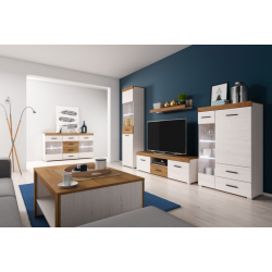 Living Room Furniture Falco Wall Unit Set Oak/ White