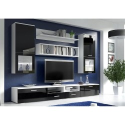 Living Room Furniture Franco Wall Unit Set Black Matte / Black Gloss