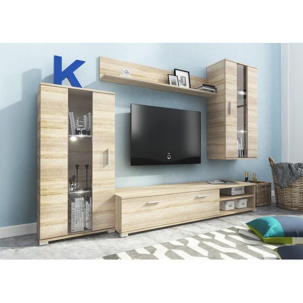 Living Room Furniture Faro Wall Unit Set Oak