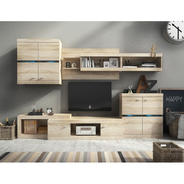 Living Room Furniture Hector Wall Unit Set Oak