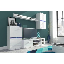 Living Room Furniture Intel Wall Unit Set White Gloss
