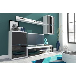 Living Room Furniture Intel Wall Unit Set Black Gloss