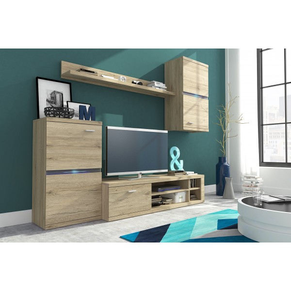 Living Room Furniture Intel Wall Unit Set San Remo Oak