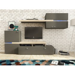 Living Room Furniture Jet Wall Unit Set Grey Graphite/Oak