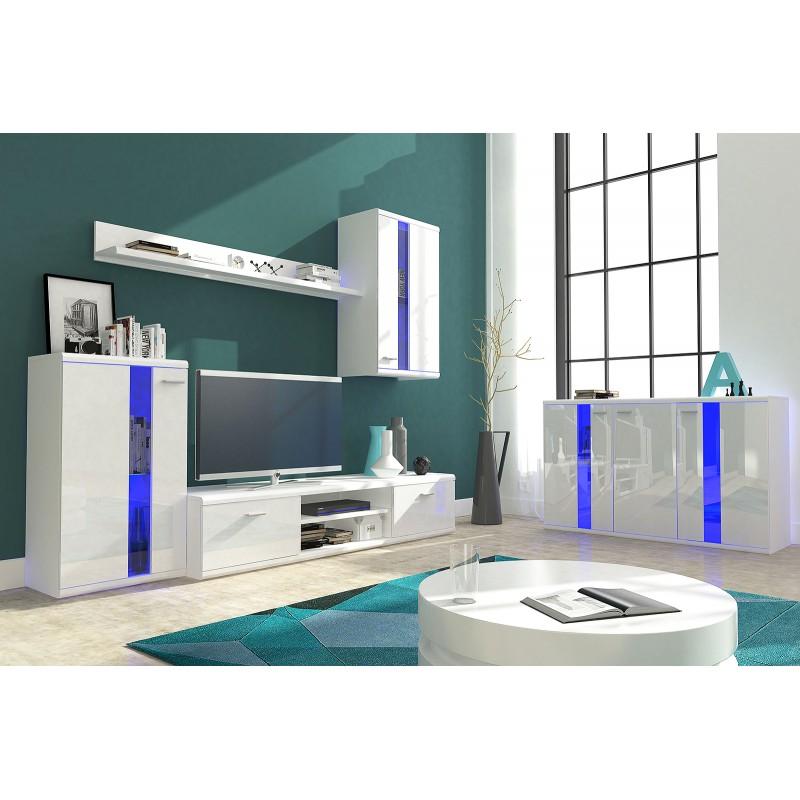 Living room furniture life wall unit set white gloss - White gloss living room furniture sets ...