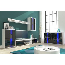 Living Room Furniture Life Wall Unit Set Black Gloss