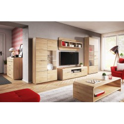 Living Room Furniture Link Wall Unit Set Oak