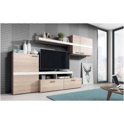 Living Room Furniture Max Wall Unit Set Oak / White
