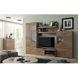Living Room Furniture Red Wall Unit Set Stirling Oak