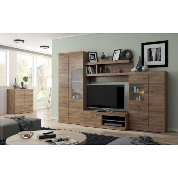 Living Room Furniture Red Wall Unit Set Stirling Oak