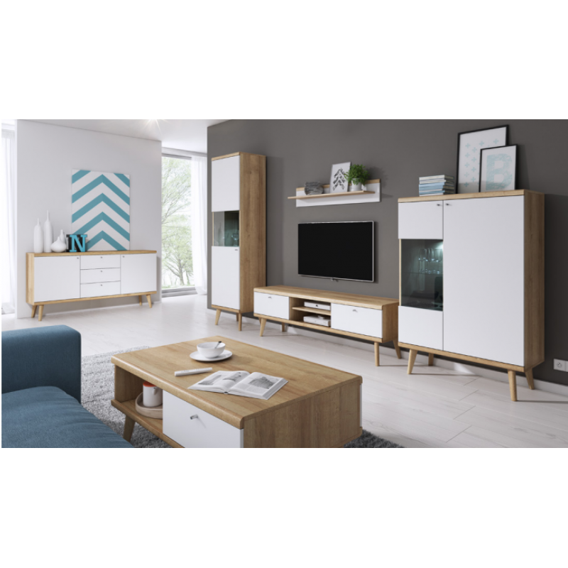 Living Room Furniture Primo I Wall Unit Set Oak White