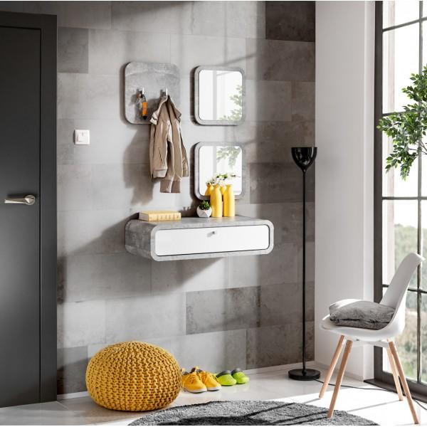 Hallway Furniture Wally 2 Set White Gloss/ Light Atelier