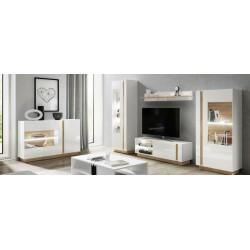 Living Room Furniture  Wall Unit Set White Gloss/ Oak