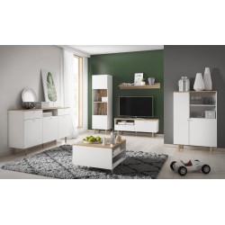 Living Room Furniture Loveli Wall Unit Set White/Sand