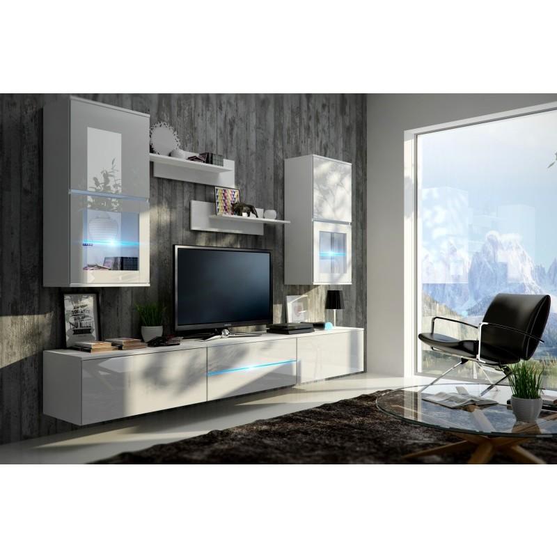 Living room furniture franco wall unit set white matte - White gloss living room furniture sets ...