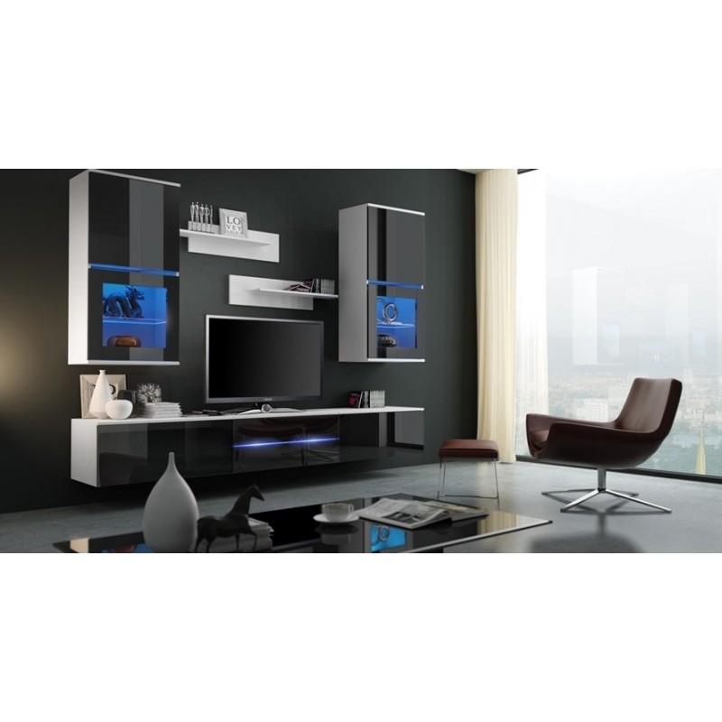 Wondrous Living Room Furniture Franco Wall Unit Set White Matte Black Gloss Download Free Architecture Designs Scobabritishbridgeorg