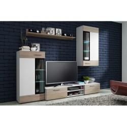 Living Room Furniture Tango Wall Unit Set Light Oak/White Matte